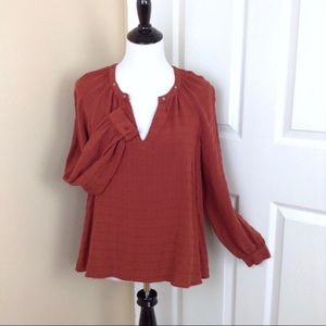 Knox Rose burnt orange hi lo long sleeve blouse